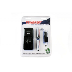 Tenergy TN270 Li-ion Battery Charger kit with 2 Li-ion 18650 3.7V 2600mAh Button Top with PCB, includes Car plug
