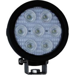"4"" ROUND UTILITY MARKET BLACK WORK LIGHT SEVEN 3-WATT LED'S 60 DEGREE EXTRA WIDE BEAM, 1,500 Lumens"